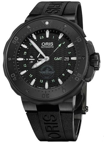 ORIS PRODIVER FORCE RECON GMT AUTOMATIC WATCH, SW 220-1, BLACK, TITANIUM