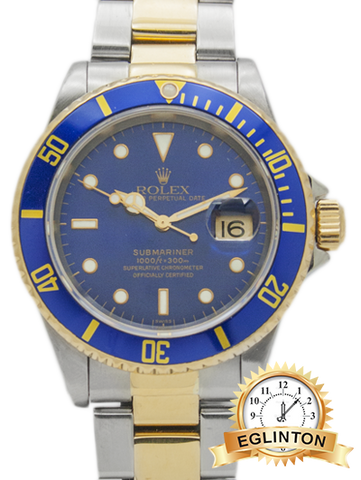 ROLEX 16613 SUBMARINER TWO-TONE 18K GOLD BLUE 1999 W/ Box & Papers