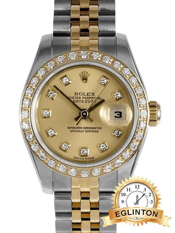 Rolex Date just 26mm Two Tone with Diamond bezel and Champagne Diamond Dial W/ Box & Papers