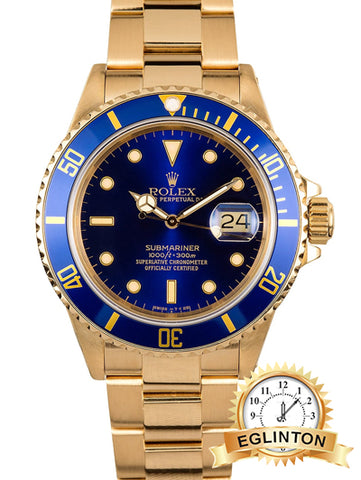 ROLEX SUBMARINER 16808 18K YELLOW GOLD