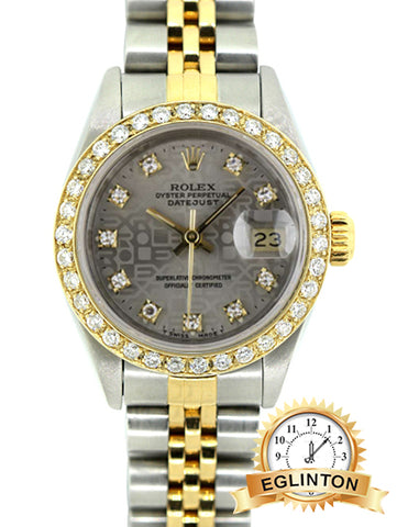 Rolex 24mm Datejust two tone with diamond bezel and diamond jubilee dial