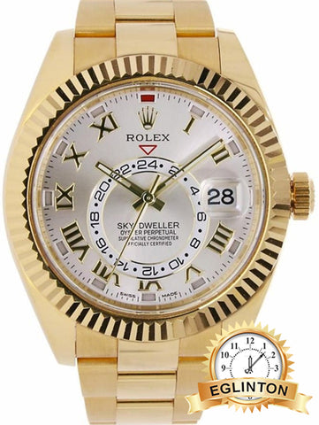 Rolex Sky-Dweller 18 Karat Yellow Gold Silver Sunray Dial Watch 326938