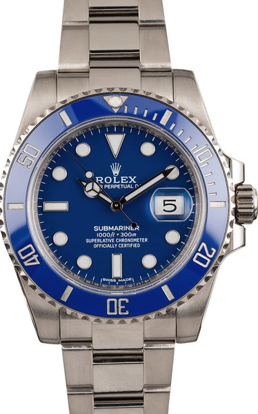 ROLEX Submariner Date Blue Dial 18K White Gold Oyster Bracelet Men's Watch 116619BLSO