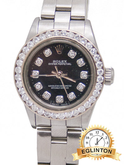 "Rolex LADIES Stainless STEEL OYSTER 67180 ""1990"" With Diamond Bezel & Dial"