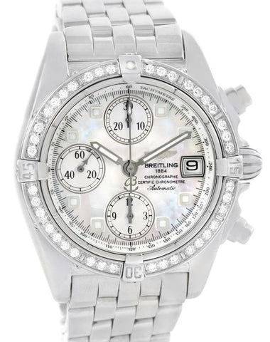 Breitling Windrider Cockpit Mother Of Pearl Diamond Bezel A13357 Watch