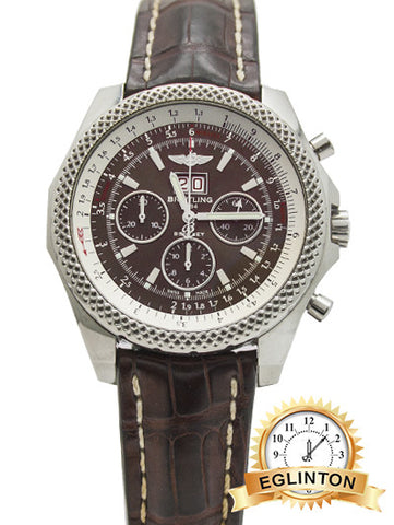 BREITLING BENTLEY 6.75 STAINLESS STEEL DARK GREY DIAL ON BROWN LEATHER STRAP
