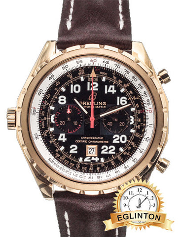 Breitling Chrono-matic H22360 18k Rose 45mm Pilots' 24 Hour Chrono W/ Box & Papers