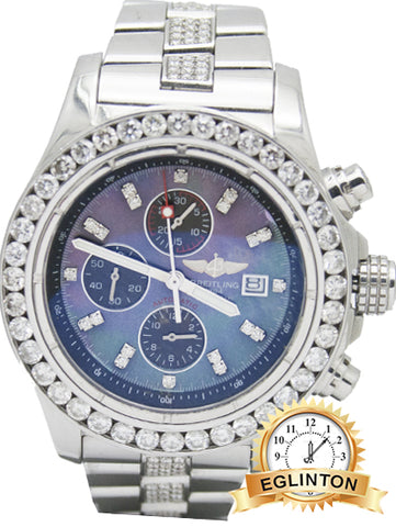 breilting super avenger stainless steel with diamond bezel, dial and inner links