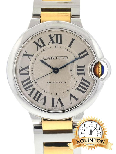 Cartier Two Tone 3284 Ballon Bleu Stainless Steel 18k Yello Gold Watch Mid-Size