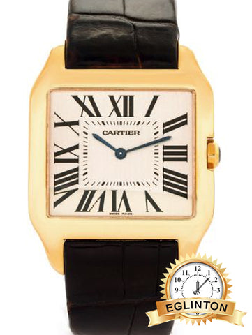 Cartier Santos-Dumont 2649 in 18k Yellow Gold on Black leather band