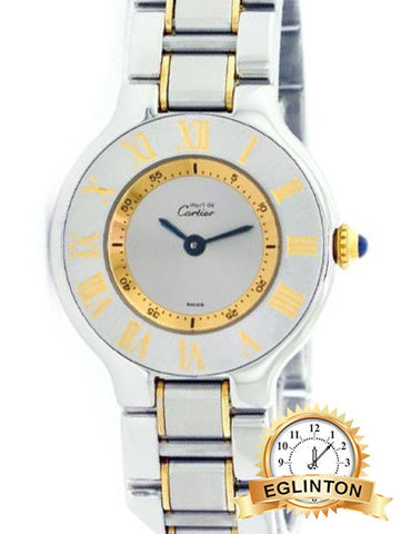 Cartier Must De 21 Two Tone 1340 Roman Numeral Silver Dial Ladies Watch