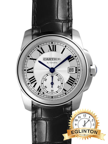 Cartier men's WSCA0003 calibre de Cartier 38 mm SS / black leather automatic winding silver see-through case-back