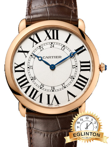 NEW CARTIER Ronde Louis Silver Dial 18k Rose Gold Brown Leather Automatic Men's Watch Item No. W6801004 W/BOX & PAPERS