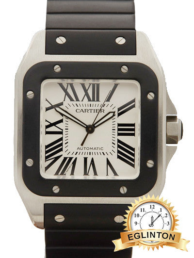 Cartier Santos 100 Stainless Steel Black Rubber Watch