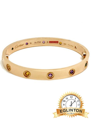 Cartier Love Bracelet 18K Rose Gold with Colored Stones , Size 17 W/ Box & Papers