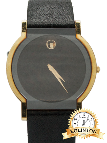 Movado 18k Yellow Gold with Black leather strap