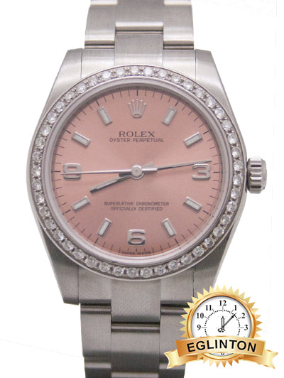 Rolex Oyster Perpetual 31mm Pink Dial with Custom Diamond Dial