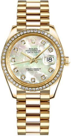 Rolex Datejust 31 Mother of Pearl Diamond Gold Women's Watch 178288 New