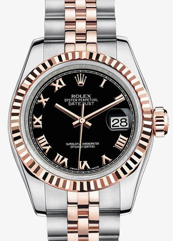 Rolex Datejust Two tone Rosegold Black Roman Jubilee Watch 116231 Box Paper