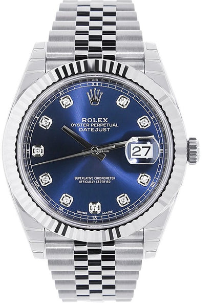 Rolex Datejust 41mm Stainless Steel Mens Watch 126334 Blue Diamond Dial