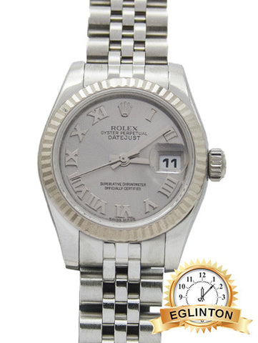 Like New ROLEX WHITE GOLD AND STAINLESS STEEL LADY DATEJUST 179174 WHITE ROMAN - JUBILEE BRACELET