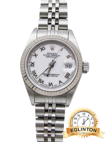 Rolex Datejust 26mm Stainless Steel white roman numeral dial with white gold fluted bezel