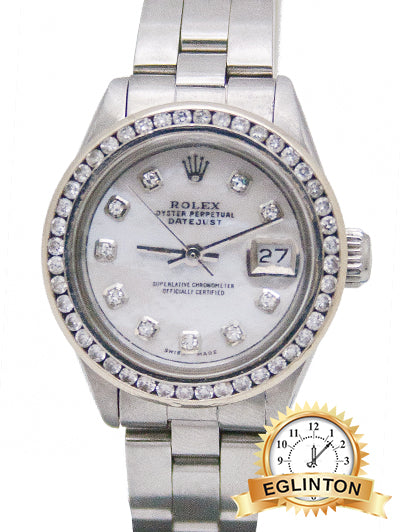 Rolex Ladies Date Stainless Steel Diamond M.O.P Dial & Diamond bezel with Oyster Bracelet Watch 6916