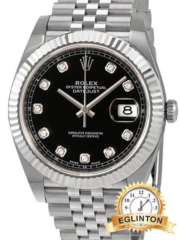 "Rolex Datejust 41mm Black Diamond Dial Stainless Steel Mens Watch ""2018"""