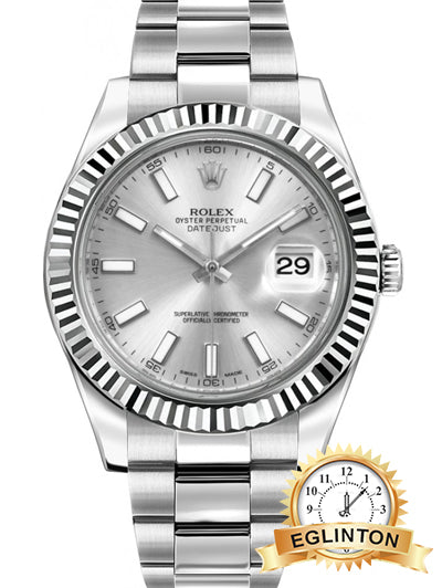 Rolex Datejust II 41 Automatic White Gold Bezel Watch 116334-SLVSFO