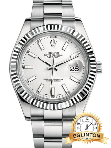 Rolex Datejust II White Index Dial Fluted 18k White Gold Bezel Oyster Bracelet Mens Watch 116334wio