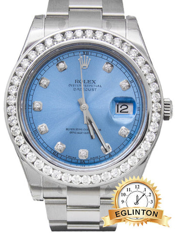 Brand New ROLEX DATEJUST 116300 Blue diamond dial and bezel