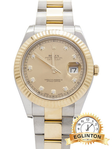 Rolex Oyster Perpertual Datejust II 2-Tone Diamond Dial Watch 2016 W/ Box & Papers