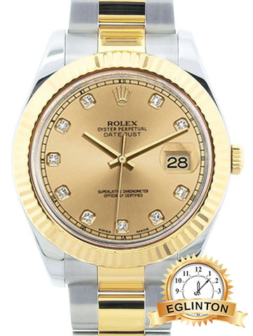 Rolex Datejust II Model 11633 Diamond Dial fluted Bezel 2015 W/ Box & Papers