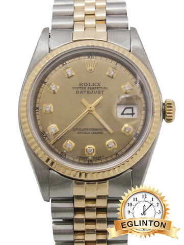 Rolex Datejust 36MM TWO TONE DIAMOND DIAL REF: 1601