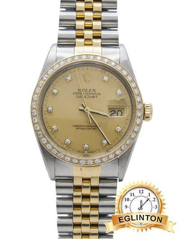 Rolex Datejust Two Tone 18k Champagne Diamond Dial and bezel