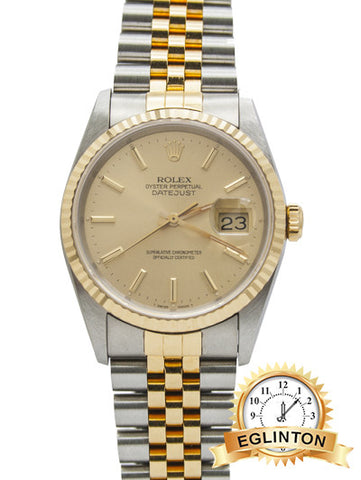 "ROLEX DATEJUST TWO TONE GOLD & STAINLESS 36MM JUBILEE 16013 ""R"" Serial"