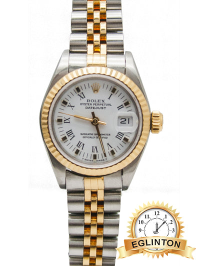 "ROLEX LADIES DATEJUST 69173 White Roman Numerals Two Tone ""1991"""