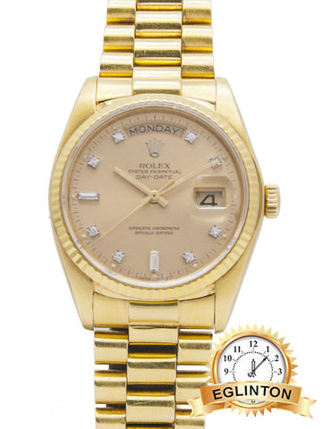 Rolex Day-Date President 18ct Yellow Gold with Original Diamond Dial 1991