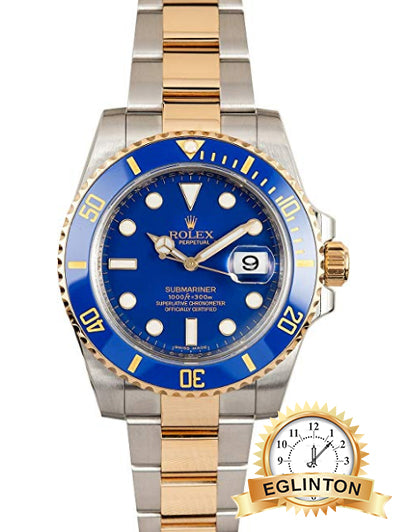 "Rolex Submariner Stainless Steel Yellow Gold Watch Blue Ceramic Watch 116613 ""2017"""