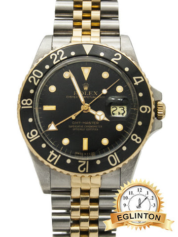 "Rolex GMT-Master II Two-Tone 18K Gold Stainless Black Jubilee Watch ""1988"" W/ BOX & PAPERS"