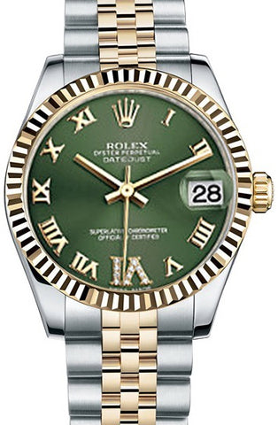 Rolex Datejust 31mm Olive Green Dial Steel and Yellow Gold Watch 178273