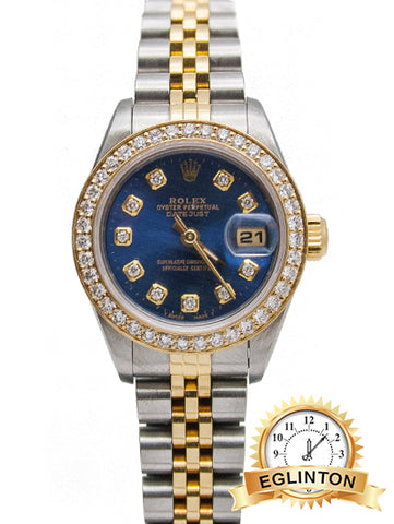 "ROLEX LADIES DATEJUST 69173 Custom Blue Diamond Dial & Bezel ""1998"""