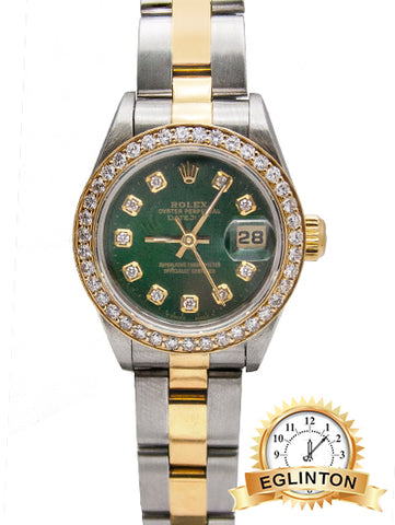 "ROLEX LADIES DATEJUST 69163 Custom Green Diamond Dial & Bezel ""2002"""