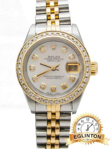 "ROLEX LADIES DATEJUST 69173 Custom M.O.P Diamond Dial & Bezel ""1990"""