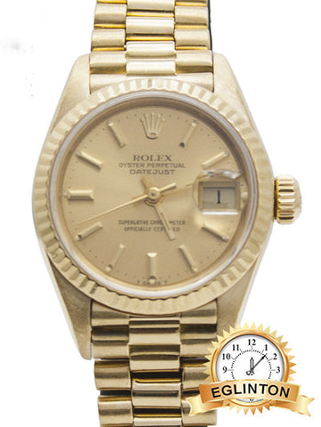 ROLEX Ladies 26mm  Datejust (President) Watch, Champagne Dial,  18K