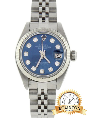 Rolex Datejust 6916 18K White Gold & Stainless Steel Blue Dial 26mm Watch