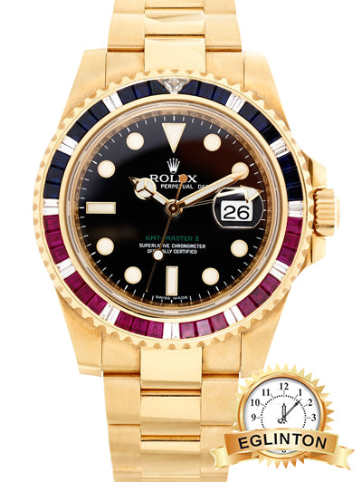 ROLEX OYSTER PERPETUAL GMT MASTER II SAPPHIRE, RUBY & DIAMOND GOLD WATCH 2017