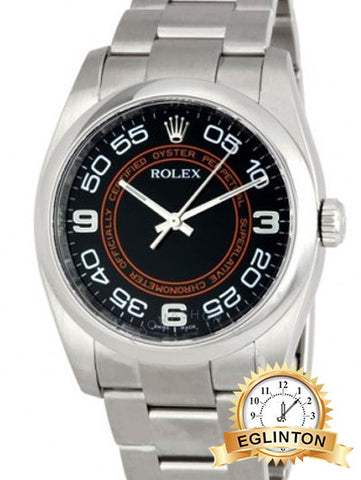Rolex 116000 36mm Osyter Perpetual No Date WITH Black with Orange Concentric Dial