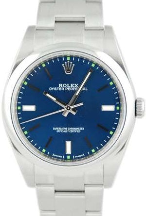 Rolex Oyster Perpetual 39mm Blue/Green Dial - 114300 Box & Paper