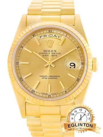"Rolex Day-Date 18238 18K Yellow Gold & Champagne Dial 36mm Mens Watch ""E"" Serial"